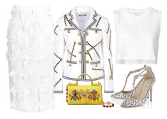 White & Yellow by carolineas on Polyvore featuring polyvore, fashion, style, Yves Saint Laurent, Moschino, Stella Jean, Jimmy Choo, Dolce&Gabbana and clothing