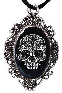 Amazon.com: Alkemie Swirly Skull Cameo Necklace: Jewelry