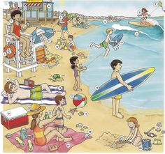 Beach, seaside vocabulary. English lesson on PDF with conversation