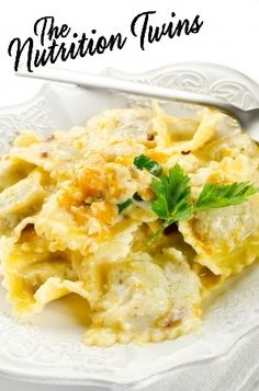 Pumpkin Ravioli | Cheesy & Delicious | Lightened Up & Healthy | Only 148 Calories | For MORE RECIPES, fitness & nutrition tips please SIGN UP for our FREE NEWSLETTER www.NutritionTwins.com