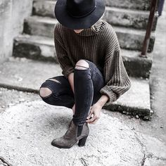 Minimalist With Ripped Jeans and a Sweater