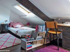 #chambre #enfants #combles #rose #filles