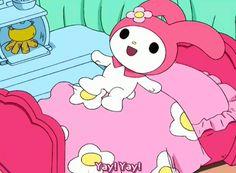 My Melody Sanrio, Hello Kitty My Melody, Sanrio Characters, Cute Characters, Pink Wallpaper Anime, Grunge, Kawaii Shop, Cute Memes, Cute Gif