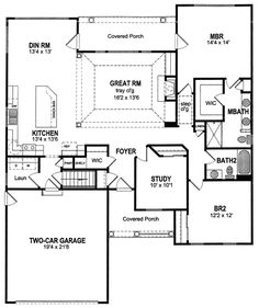 First Floor Plan of Ranch   House Plan 94151