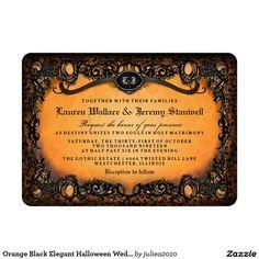 Orange Black Elegant Halloween Wedding Invitation #halloweenweddinginvite #halloweenwedding #gothicwedding