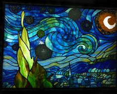 Erins Final - Van Gogh's Starry Night rendered in stained glass.  Well done!