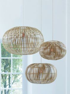 The ultimate in Scandi-style with a slight retro nod, these iconic pieces are a real find. Available in three different sizes, these stylish shades are easy to hang from an exisiting light fitting and look great hung together at different heights. The slatted design of these delicate lightshades gives the light a soft glow, making it perfect for the living room or bedroom.   As seen in Elle Decoration. Click here to view our useful lighting guide.
