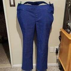Denim and Company periwinkle pull on jeans Cotton polyester spandex blend pull on jeans in Periwinkle blue. 5 pockets with faux fly, wide waistband, and rhinestone stud accent. Brand new and never worn where Denim and Company Pants Straight Leg