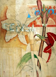 Michael Mew creates mixed media collage paintings that frequently focus on botanical subjects (other times, he focuses on toys and other ephemera of modern society).  See other examples on this same page