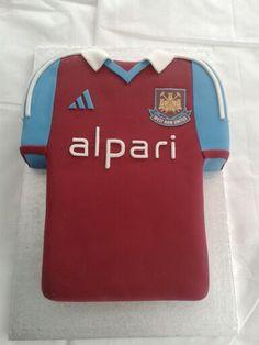 West Ham Shirt strip cake made by Lara's Theme Cakes. www.larasthemecakes.co.uk www.facebook.com/larastheme
