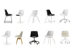 FLOW CHAIR    A family of seatings of great impact and comfort. Options: with a white, black or grey polycarbonate shell to be optionally completed with upholstery in fabric or leather - with a smoked grey polycarbonate shell and a leather pad. Base options: 4-legged, sled, sled with arm, 5-legged, 5-point-star, with central leg, 4-legged in oak. 4-legged and 5-legged bases are available in a new version with connecting elements in steel wire and height-adjustment.