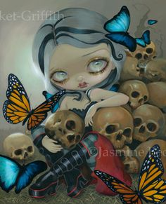 Featuring two of my favourite subjects - butterflies & bones - a GORGEOUS gothling fairy - sitting in front of a pile of skulls, looking picturesquely m