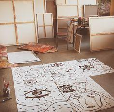 Art studio - Kat von Rose , 2017 source: www.instagram.com/kat_von_rose/   #artstudio #art_studio #art #finearts #drawing