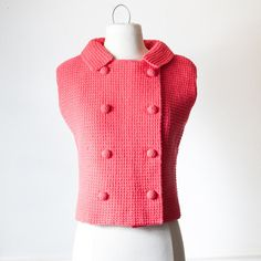 Vintage 60s Knit Top  Pink Top Pink Shirt by BlueHorizonVintage