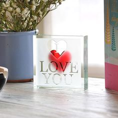 This beautiful and expressive gift really comes to life when you place it in the light. Tell someone you love them with this thoughtful and charming paperweight. Windows Me, Romantic Gifts, Meaningful Gifts, Love Gifts, Paper Weights, I Love You, Miniatures, Artwork, Hearts