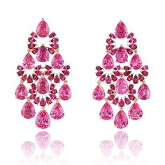 Earrings in 18k rose gold set with 28.3 carats of pear-shaped pink sapphires and 5.9 carats of pear-shaped rubellites, from the 2016 Chopard Red Carpet collection.