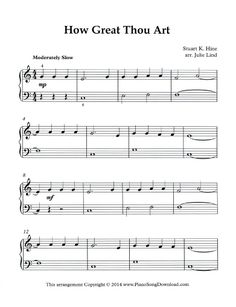 """Get this simplified arrangement of """"How Great Thou Art"""" for free at Piano Song Download."""