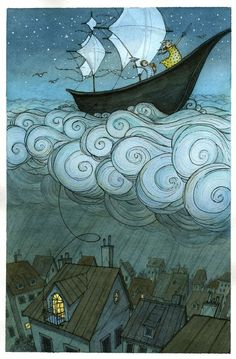 Illustration idea Kid's boat on the clouds, by Eliza Wheeler: children's book author and illustrator Art And Illustration, Book Illustrations, Illustration Children, Illustration Fashion, Inspiration Art, Art Inspo, Fantasy Kunst, Fantasy Art, Comic Sketch