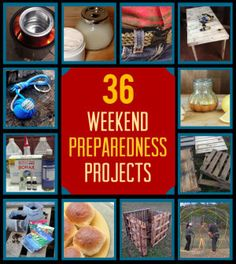 36 Prepping Projects You Can Start (And Finish) This Weekend | Awesome Ideas and Tutorials for Frugal Living by Survival Life http://survivallife.com/2014/01/31/36-prepping-projects-you-can-start-and-finish-this-weekend/