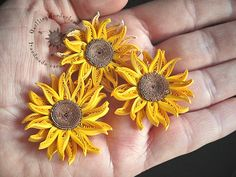 Quilled Mini Sunflowers Picture - framed paper art