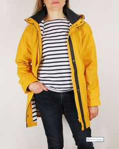 In true #Breton style, Women's #raincoat #yellow, striped lined with original Breton top #nautical #fashion