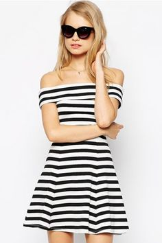 b5462e84e828 LUCLUC Off Shoulder Black White Stripes Ruffle Skater Mini Dress White Dress  Outfit