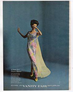 1965 Fashion ad Vanity Fair Lingerie girdles Bras flower shower