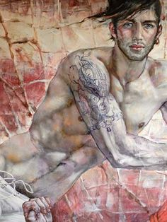 watercolor print nude male playing violin gay interest homme nu boy