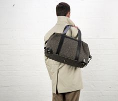 Cherchbi Squires Medium holdall, grey Herdwyck tweed