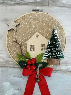 32 Nice Christmas Rustic Ornaments For Home Decoration Modern Christmas Ornaments, Ribbon On Christmas Tree, Indoor Christmas Decorations, Christmas Images, Christmas Fun, Christmas Wreaths, Easy Homemade Christmas Gifts, Christmas Embroidery, Diy Embroidery