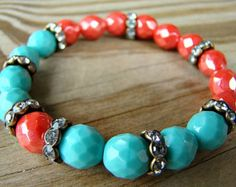 Coral and Turquoise Stretch Bracelet, Coral Czech Glass, Turquoise Czech Glass, Crystal Rhinestone, Stacking Bracelet, Gift for Her, Boho