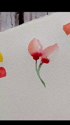 Watercolor Paintings For Beginners, Watercolor Art Lessons, Watercolor Flowers Tutorial, Floral Watercolor, Water Colour Painting Ideas, Watercolor Illustration, Flower Art, Diy Canvas Art, Arts