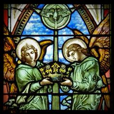 Beautiful stained glass angels