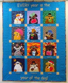 Dog yeared calendar quilt by Debbie Voigt, patterns by Ami Simms