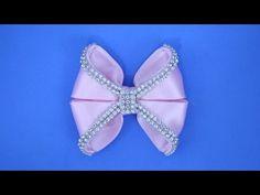 Passo a passo: Laço de fita de cetim decorado com manta de strass/ DIY - YouTube
