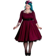 Momo Plus - Vestido de fiesta en tallas grandes color burdeos