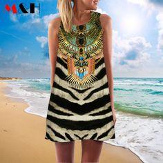 3D vintage Print summer dress 2016  bohemian beach dress summer sundresses women dresses dashiki hippie…