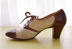 Vintage 1930s Spectator Heels Brown and White Leather. $45.00, via Etsy.