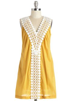 Under Frock and Key Dress. Youre well known for your secret keeping, but youre more than willing to share the details of this marvelous mustard dress! #yellow #modcloth