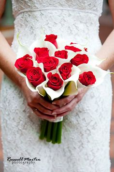 Handtied bouquet of White Calla Lily, with Red Roses.  The Plant Shoppe Florist.  Image by Russell Martin Photography.