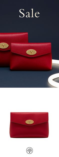 Shop the Sale Cosmetic Pouch in Scarlet Red Leather at Mulberry.com or in-store. Keep your cosmetics tucked away with the Darley Cosmetic Pouch. Crafted from Mulberry's signature grained leather, it is finished with the iconic Postman's Lock. Lined with a foil-embossed Mulberry signature interior, it is a compact travel size to carry make-up essentials.