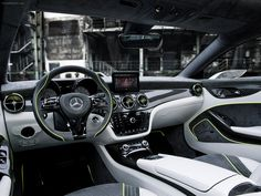 Mercedes Benz Concept Style Coupe 2012 - Car interior steering wheel energy young sport white green black grey texture multifunction 3