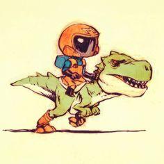 Space Mario and Yoshi - Jake Parker Cartoon Drawings, Cartoon Art, Animal Drawings, Cool Drawings, 3d Character, Character Concept, Concept Art, Character Illustration, Illustration Art