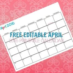 Free Printable Calendar April 2016 - Perfect for meal planning, exercise schedules, cleaning schedules and more!