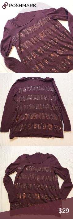 """Soft Surroundings Maroon Sequin Long Sleeve Top Soft Surroundings Maroon Sequin Long 3/4 Sleeve Top. Size M. Great used condition. 93% Cotton, 5% Cashmere, 3% Wool. Approximate measurements are included in photos and are as follows: Chest: 19"""" & Length: 27"""" Soft Surroundings Tops"""