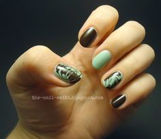 The Nail Smith: Dove Mint Chocolate Dry Marble