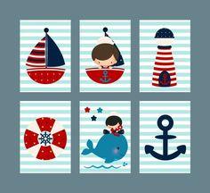 Kinderzimmer Poster/Bilder Set Maritim Boy Junge  von MilaLu auf DaWanda.com