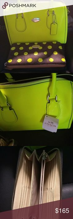 NWT Coach Neon Bag ONLY Neon green with strap Brand New with tags. Wallet has sold. Adjustable strap. Offers Welcome. Ori Coach Bags Satchels