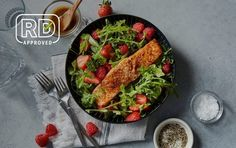 Air Fryer Salmon With Arugula-Berry Salad | Recipes | MyFitnessPal Air Fry Recipes, Air Fryer Dinner Recipes, Clean Recipes, Low Carb Recipes, New Recipes, Cooking Recipes, Healthy Recipes, Recipies, Salmon Recipes