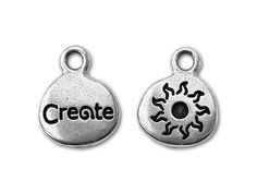 TierraCast Antique Silver Crystal Glue-In Message Charm - Create